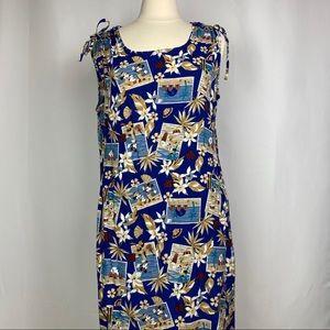Disney Aloha Postcard Maxi Dress, Sz Large